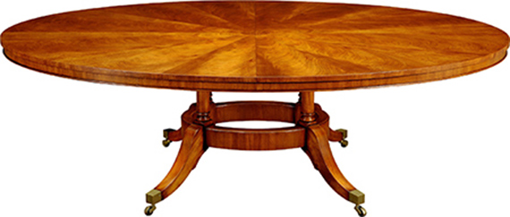 Mahogany Extending Oval Hoop Base Dining Table