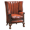 Walnut Barrelback Leather Chair
